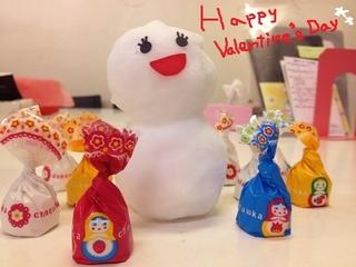 バレンタインのマトリョーシカチョコと雪だるま